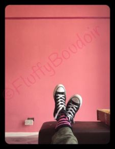 admiring the pink and My new shoes