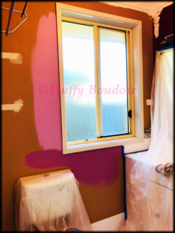 Deciding on which pink looks better in the bathroom